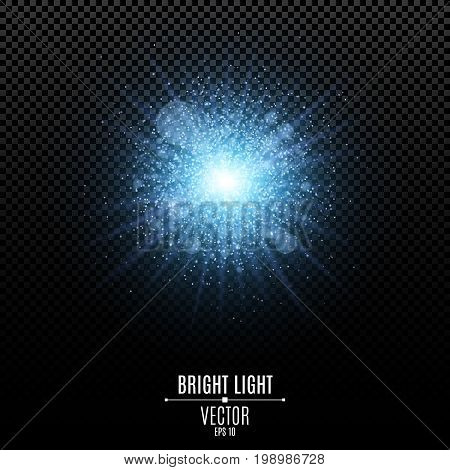 Bright star of a blue color. Blue flash of light. Abstract blue lights and rays of light. Magical blue dust. Glare bokeh. Vector illustration