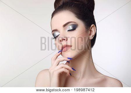 Beauty Makeup Girl.  Matte Lipstick. Manicure Nail. Young Fresh
