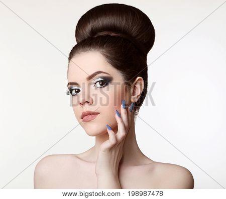 Beauty Makeup. Fashion Teen Girl Model. Brunette With Matte Lips