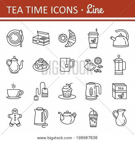 Tea icons. Outline web icon set. Kitchen appliances and various kinds of kettles. French press, electric kettle, milk jug, tea mug, tea box, tea bag, lemon. Editable stroke. Vector Illustration.