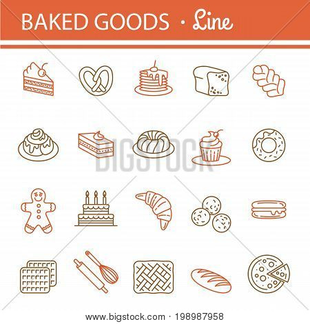 Bakery icon set. Bread Cake Pie Donut Pretzel Loaf Croissant Cupcake Macaroon Cinnamon Pancake Gingerbread. Outline vector Illustration isolated for your graphic web design. Editable stroke.