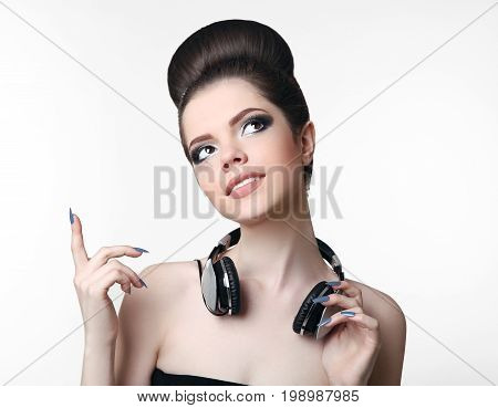 Fashion Party Teen Dj Girl Model Listening Music With Her Headph