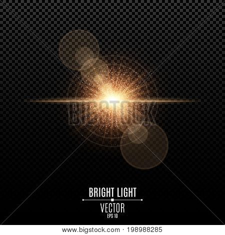 Bright star of a golden color. Orange flash of light. Abstract golden lights and rays of light. Camera effect. Magical golden dust. Glare bokeh. Vector illustration