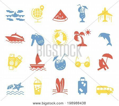 Summer and Beach Icons. Silhouetted vacation web icon set. Travel graphic icons set with starfish, sailboat, airplane, cocktail, chaise lounge and other images.