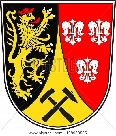 Coat of arms of Amberg-Sulzbach is a district in Bavaria Germany. Vector illustration from the