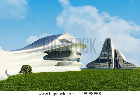 House of the Future  on the grass.3d render
