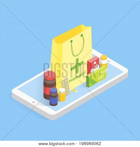 Modern pharmacy and drugstore concept. Isometric phone sale drugs online. Vector simple illustration.