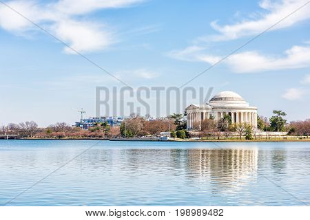Tidal Basin with Thomas Jefferson Memorial reflection in winter