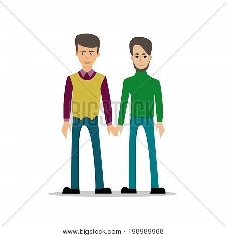 Gay couple in casual clothing. Vector illustration isolated on white. Same-sex family.  Male homosexual characters.