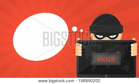 Cartoon hacker is holding a hacked tablet on a red background. System window warning and map of the earth. The system is hacked. Vector illustration in flat style