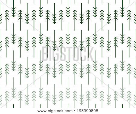 Scandinavian geometric pattern with stylized linear fir and pine trees in shades of green on white background. Print for Christmas wrap paper or modern fashion and sportswear. Vector seamless repeat.