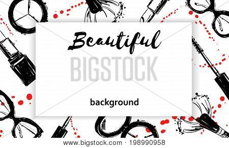 Beautiful Background With Cosmetics Elements With Ink Droplets And Sprays. Hand Drawn Graphic Makeup