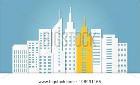 Outstanding yellow architectural building among white building, Cityscape concept on pastel blue background for copy space, Minimal and paper art style, Vector illustration modern background.