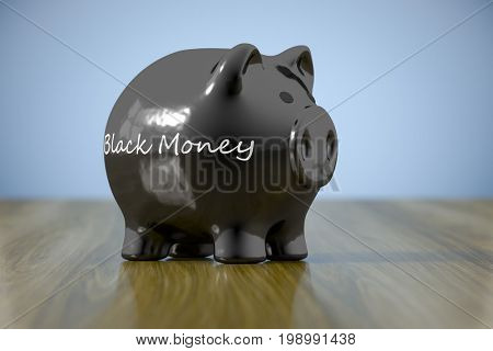 3d rendering of a piggy bank with the word black money
