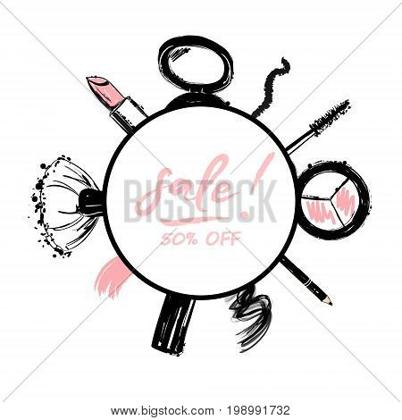 Beauty Store Sale Banner With Make Up Objects: Lipstick, Makeup Brush, Eyeliner, Eyeshadow, Mascara.