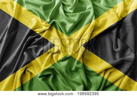 Ruffled waving Jamaica flag national flag close