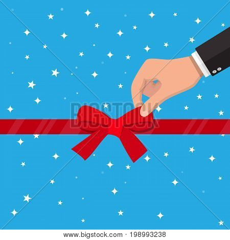 Hand unties ribbon bow. Opening ceremony, celebration, surprises. Vector illustration in flat style