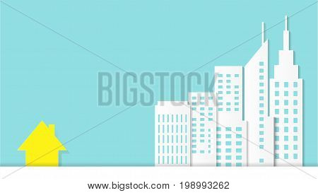 Outstanding yellow house split among white architectural buildings, Cityscape concept on pastel blue background for copy space, Minimal and paper art style, Vector illustration modern background.