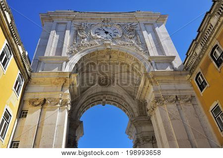 Augusta Street Triumphal Arch in the Commerce Square Praca do Comercio or Terreiro do Paco in Lisbon Portugal