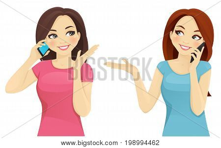 Two women talking on phone smiling vector illustration