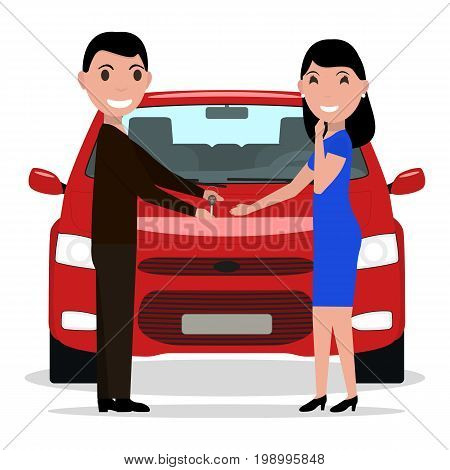 Vector illustration of a cartoon man giving car keys to a woman. Isolated white background. The guy gives the girl a auto. A woman is buying a car. Flat style.