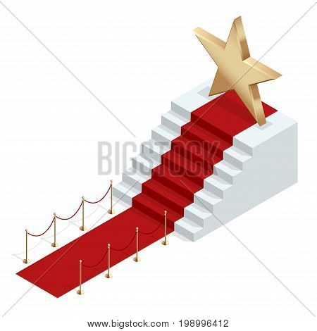 Isometric red event carpet isolated on a white background Red carpet event with white marble stairs and gold queue rope barriers posts stands realistic vector illustration.