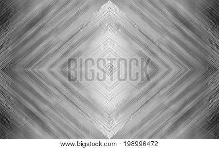 Rhombus black and white for technology design. Monochrome abstract background for modern templates. Kaleidoscope symmetric effect with strips and geometric shapes