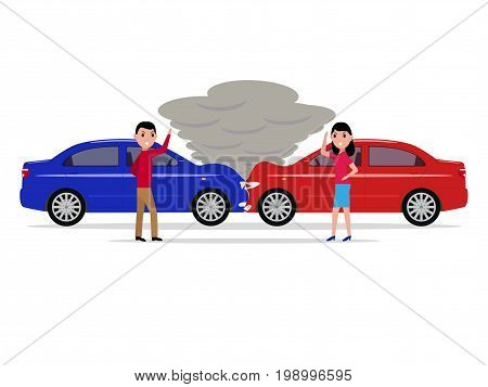 Vector illustration of a cartoon car accident. A man and a woman get angry and swear in a auto accident. Isolated white background. Flat style.