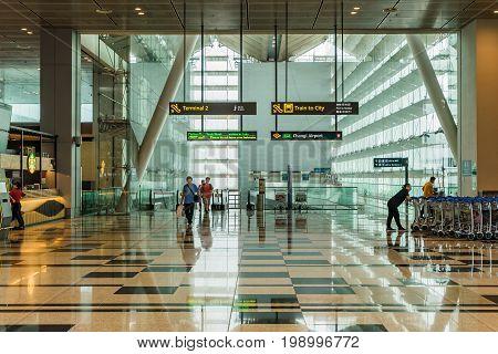 Visitors Walk From Mrt Train Into Changi Airport Singapore