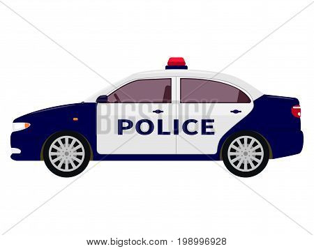 Vector illustration of a cartoon police car. Isolated white background. Flat style, side view.