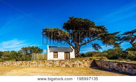 Old Cape Cottage on the Cape of Good Hope Nature Reserve near the southern tip of the Cape Peninsula in South Africa where the Indian and Atlantic Oceans meet