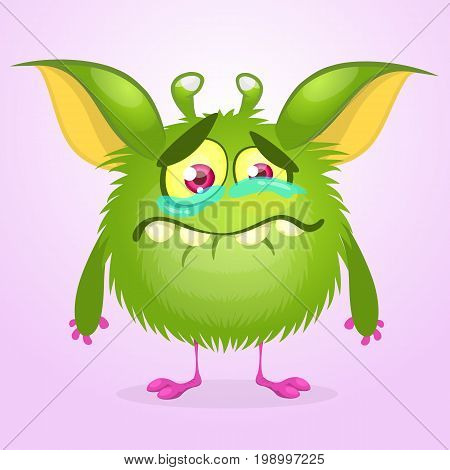 Cartoon green monster crying. Vector illustration of furry round monster. Monster emotions