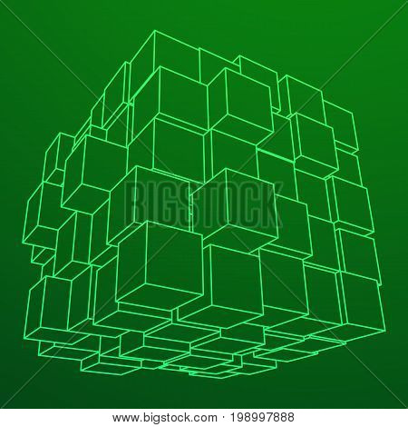 Wireframe Mesh Big Data Cube Made of Many Cubes. Connection Structure. Digital Info Visualization Concept. Vector Illustration.