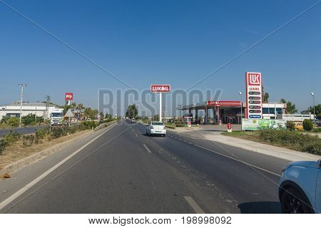 SIDE TURKEY - JULY 07 2015: Petrol station Lukoil. Lukoil is Russia's second largest oil company.