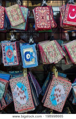 SIDE TURKEY - JULY 07 2015: Traditional national embroidery with folk motifs and patterns. Sale of handmade goods. Bazaar.