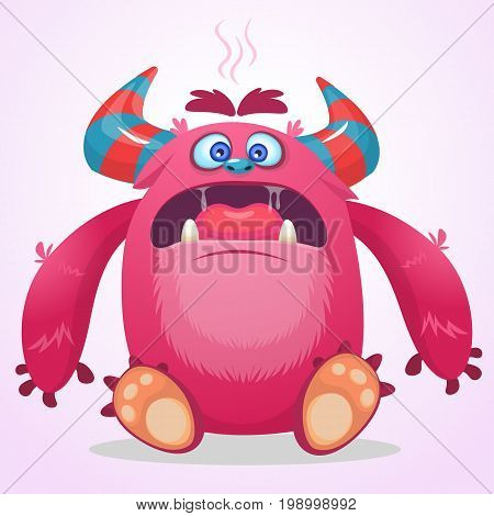 Angry cartoon monster. Vector Halloween illustration. Funny troll or gremlin
