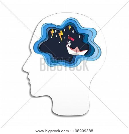 Thinking success concept, Head with brain and businessman on top holding flag with boat against crazy sea and thunderbolt in storm, Symbol of success, achievements in business life (Paper art style)