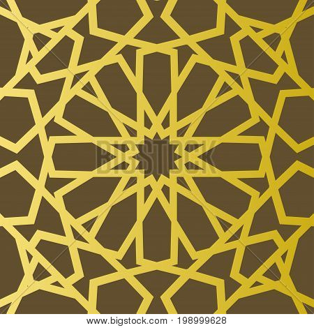 Traditional east geometric decorative pattern gold style. Arabic pattern background. Islamic ornament vector. Persian motif.