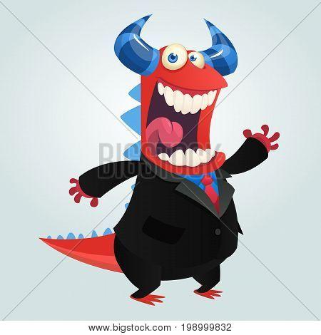 Cartoon happy monster teacher presenting. Vector illustration