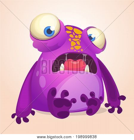 Cute cartoon monster. Halloween vector illustration of violet surprised monster alien