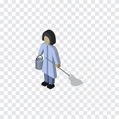 Housemaid Vector Element Can Be Used For Housemaid, Cleaner, Housekeeper Design Concept.  Isolated Cleaner Isometric. poster