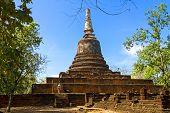 Wat Khao Suwankhiri temple and clear sky in Sisatchanalai Historical Park Sukhothai province Thailand poster