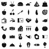 Gastronomy icons set. Simple style of 36 gastronomy vector icons for web isolated on white background poster