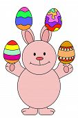 Illustration of a bunny rabbit juggling easter eggs poster