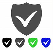 Shield Valid flat vector icon. Colored shield valid, gray, black, blue, green icon variants. Flat icon style for application design. poster