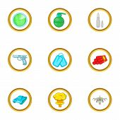 Arsenal icons set. Cartoon set of 9 arsenal vector icons for web isolated on white background poster