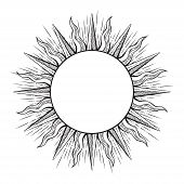 Hand drawn etching style frame in a shape of sun rays vector illustration. poster