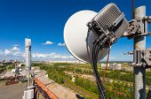 Telecommunication tower with wireless communications systems are including microwave panel antennas fiber optic and power cables of mobile operators are located on the roof and city landscape as background. Outdoor equipment of basic station. poster