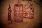 Iron hanging medieval torture cages. Medieval torture. poster