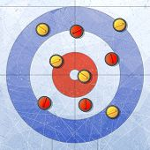 Sport. Curling stones on ice. Curling House. Playground for curling sport game. Red and yellow stones. Textures blue ice. Ice rink. Vector illustration. Background. poster